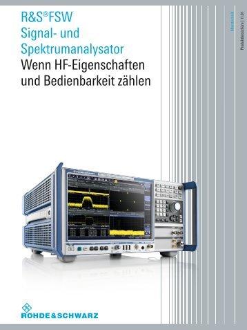 R&S®FSW Signal- und Spektrumanalysator - Rohde & Schwarz