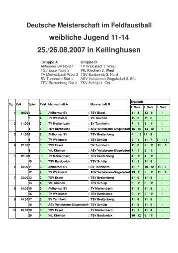 Ergebnisse DM weibliche C-Jugend, 25.08.2007 bis - VfL Kirchen