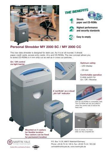 Personal Shredder MY 2000 SC / MY 2000 CC - Postroom-online Ltd