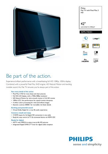42PFL7403H/10 Philips Flat TV with Pixel Plus 3 HD