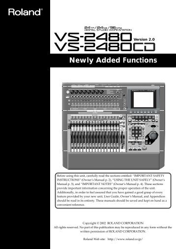 VS-2480 V2 Added Functions - Roland UK