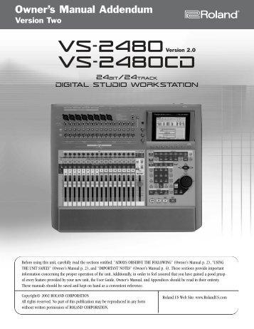 VS-2480 Owner's Manual Version Two Addendum - Roland
