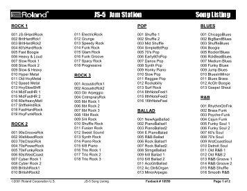 JS-5 Song List (PDF) - Roland UK