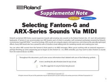 Selecting Fantom-G and ARX-Series Sounds Via MIDI - Roland UK