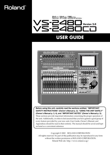VS-2480CD User Guide (PDF) - Roland UK