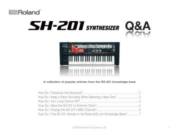 SH-201 Frequently Asked Questions (PDF) - Roland UK
