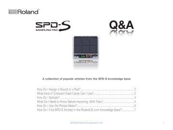 Roland SPD-S Q&A