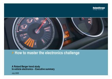 How to master the electronics challenge - Roland Berger