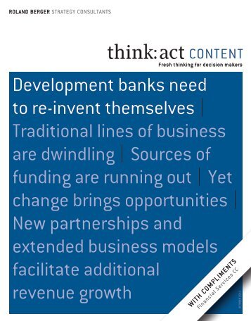 Development banks need to reinvent themselves - Roland Berger