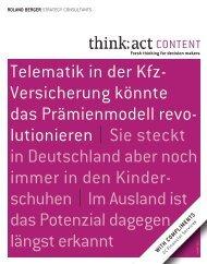 Telematik in der Kfz- Versicherung könnte das ... - Roland Berger