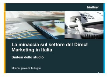 La minaccia sul settore del Direct Marketing in Italia - Roland Berger