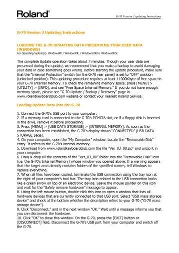 G-70 Version 3 Updating Instructions - Roland Keyboard Club