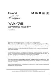 V-Arranger Keyboard 128-voice polyphony - Roland Keyboard Club