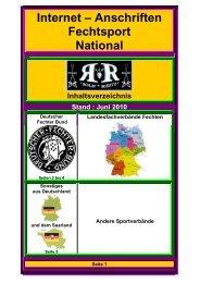 Internet – Anschriften Fechtsport National - Rolf Reitz