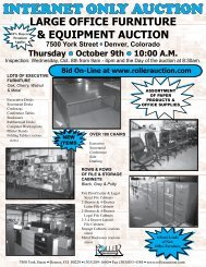 INTERNET ONLY AUCTION - Roller Auctioneers