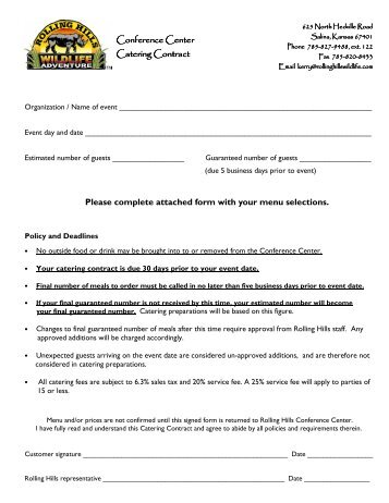 Things to consider in your catering contract catering contract rolling hills zoo altavistaventures Gallery