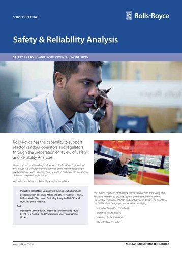 Safety & Reliability Analysis - Rolls-Royce