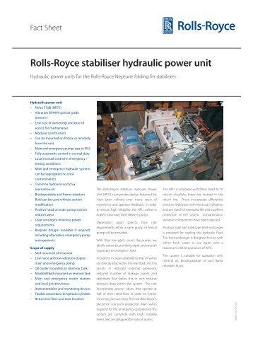 Rolls-Royce stabiliser hydraulic power unit