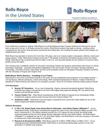 Rolls-Royce in the United States factsheet
