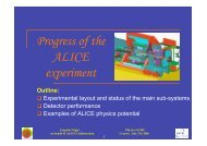 Progress of the ALICE experiment - INFN Sezione di Roma