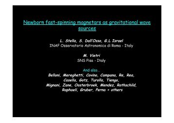 Newborn Magnetars as Gravitational Wave Sources - INFN Sezione ...