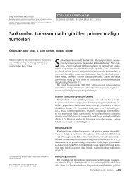 Sarkomlar: toraks›n nadir görülen primer malign tümörleri
