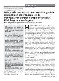 Multipl sklerozda santral sinir sisteminde görülen akut plaklar›n de ...