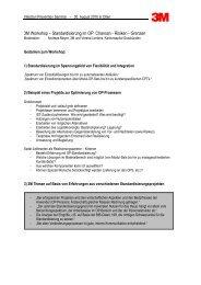 3M Workshop – Standardisierung im OP: Chancen - Risiken - Grenzen