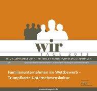 Programm - WIR   Das Magazin für Unternehmerfamilien