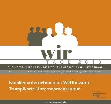 Programm - WIR | Das Magazin für Unternehmerfamilien