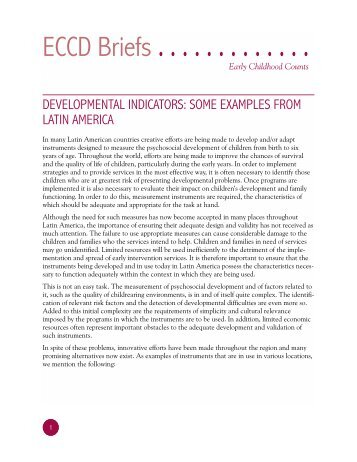 Some Examples from Latin America. - Consultative Group on Early ...
