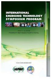 International Emerging Technology Symposium Program - iapmo