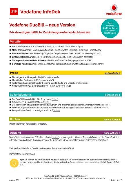 Vodafone Neue Sim Karte Kosten.Infodok 519 Vodafone Duobill Neue Version