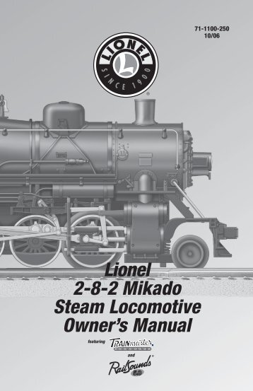 Lionel 2-8-2 Mikado Steam Locomotive Owner's Manual