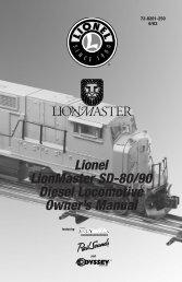 Lionel LionMaster SD-80/90 Diesel Locomotive Owner's Manual