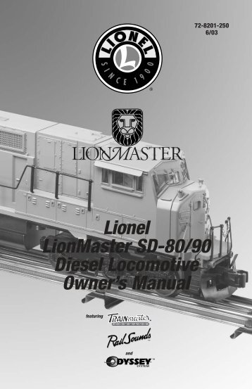 Lionel LionMaster SD-80/90 Diesel Locomotive Owner's Manual