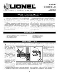 O gauge switch instructions - Lionel