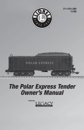 The Polar Express Tender Owner's Manual - Lionel