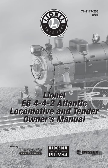 Lionel E6 4-4-2 Atlantic Locomotive and Tender Owner's Manual ...