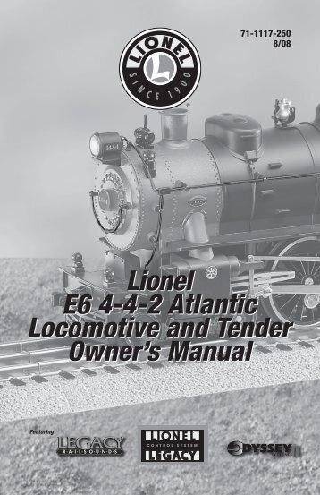 Lionel E6 4-4-2 Atlantic Locomotive and Tender Owner's Manual ...