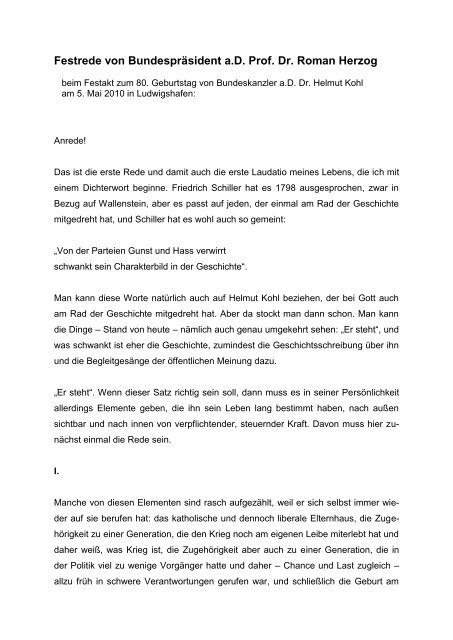 Rede Beim Festakt Zum 80 Geburtstag Von Bundeskanzler A D Dr