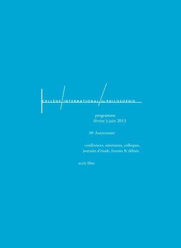programme février à juin 2013 - Wiki Romanian Philosophy