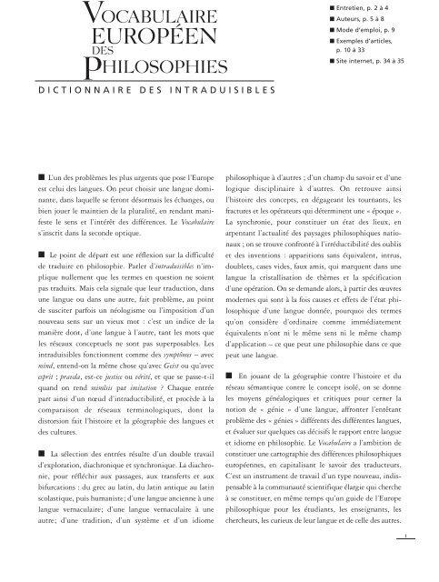 Vocabulaire Européen des Philosophies - Wiki Romanian Philosophy