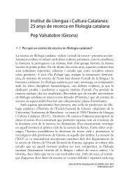 Institut de Llengua i Cultura Catalanes: 25 anys de recerca en ... - UdG
