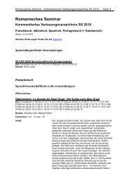 Romanisches Seminar Kommentiertes Vorlesungsverzeichnis SS ...