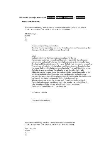Romanische Philologie: Französisch, Italienisch, Spanisch - beim ...