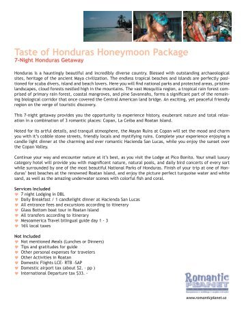 Taste of Honduras Honeymoon Package - Romantic Planet Vacations