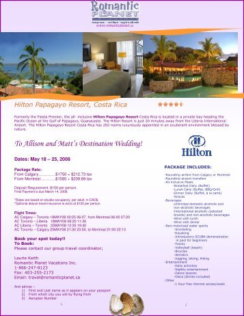 COSTA RICA - Hilton Papagayo - Romantic Planet Vacations