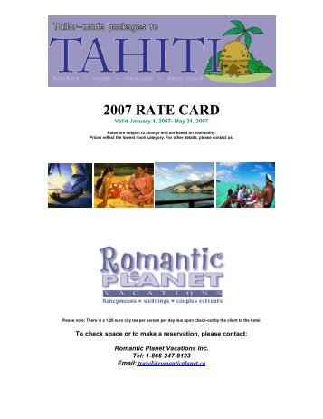 to download printable Rate Card in PDF - Romantic Planet Vacations