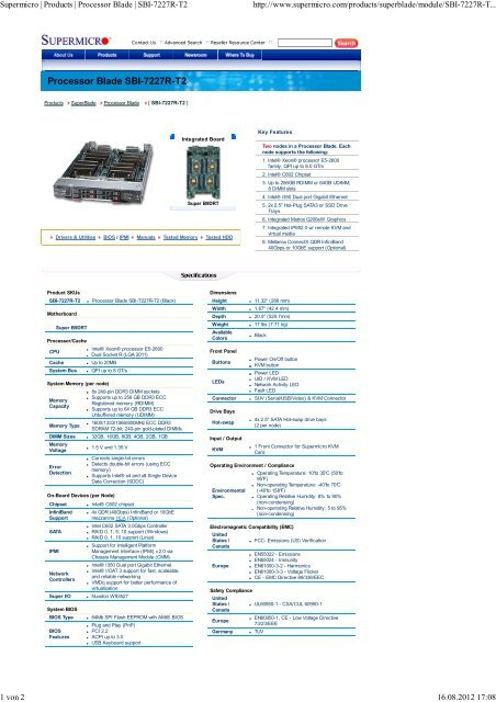 Supermicro | Products | Processor Blade | SBI-7227R-T2 - Rombus